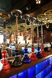 stock photo of hookah  - The hookah on the bar counter in a cafe - JPG