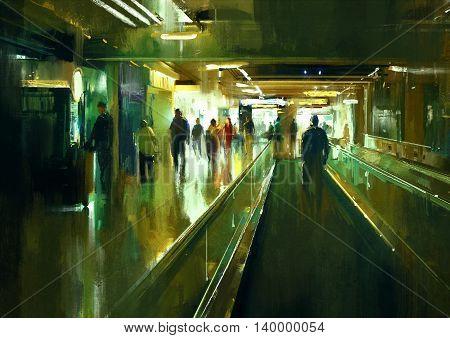 digital painting of people walking in the terminal