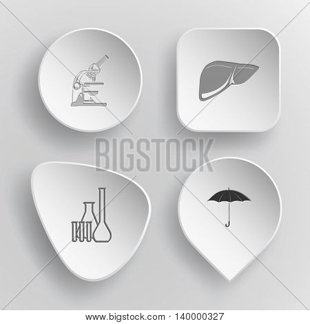 4 images: lab microscope, liver, chemical test tubes, umbrella. Medical set. White concave buttons on gray background. Vector icons.