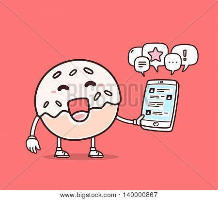 Vector illustration of bright color smile donut holding phone on red background. Chatting cartoon donut concept. Doodle style. Thin line art flat design of character donut for mobile communication theme