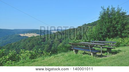 idyllic picnic Area in Westerwald near Hachenburg,Rhineland-Palatinate,Germany