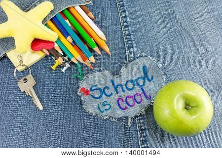 School Is Cool Sign With Creative Learning Objects