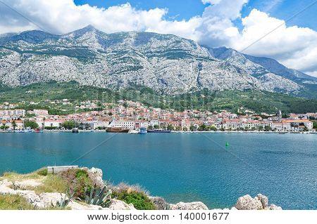 View to Makarska Town at Makarska Riviera in Dalmatia,adriatic Sea,Croatia