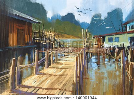 landscape painting of fishing village in summer