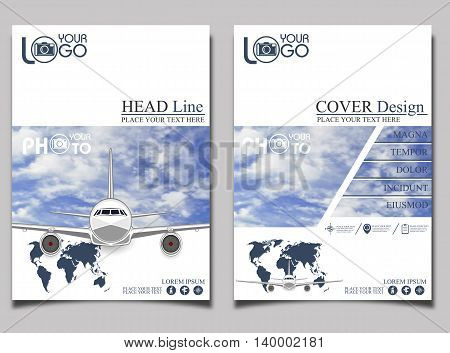 Flyer template airlift. Commercial flights in airplanes. Tourist and business flights. Passenger plane. Empty space for text. Flyer design. Vector illustration
