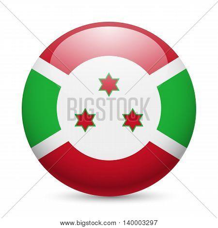 Flag of Burundi as round glossy icon. Button with Burundian flag