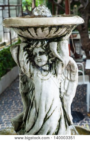 Gray Plaster Statue The Garden Is Decorated In European Style Vintage Statue