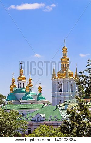 Bell Tower of Distant Caves and Church of Kiev Pechrsk Lavra monestary Kyiv Ukraine. Oldest Orthodox Monastery in Ukraine dating from 1051