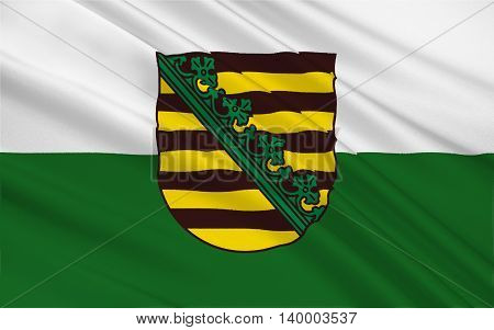 Flag of Free State of Saxony of the federal state of Germany. 3d illustration