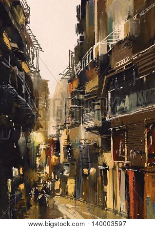 cityscape painting showing narrow alley with old buildings