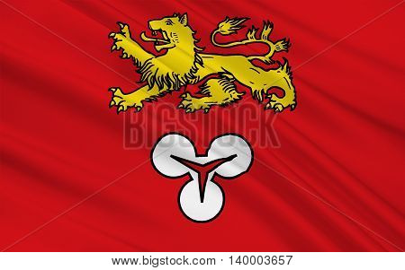 Flag of Hanover Region is a district in Lower Saxony Germany. 3d illustration