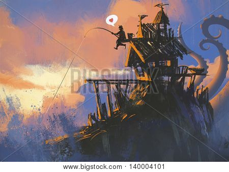 funny illustration painting of fisherman on an old house with a fishing rod has a big catch