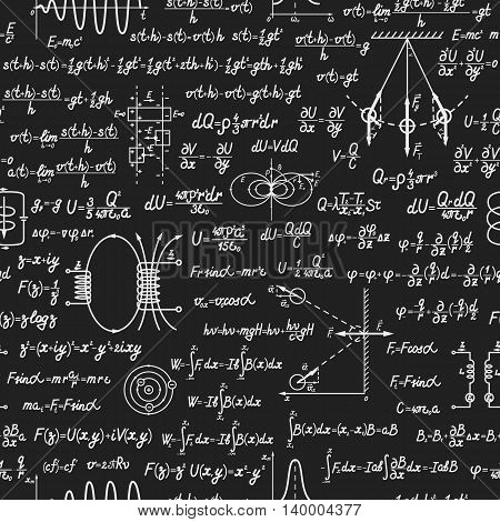 Physical vector seamless pattern with formulas equations and figures handwritten on a blackboard seamless design
