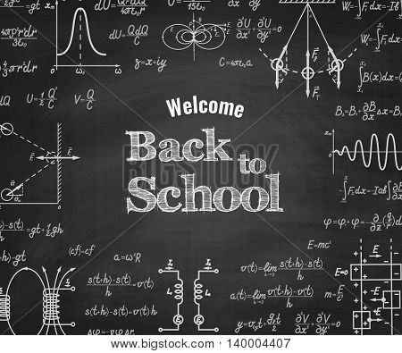 Welcome back to school with physics formulas and figure on school blackboard on backgound. School education vector background
