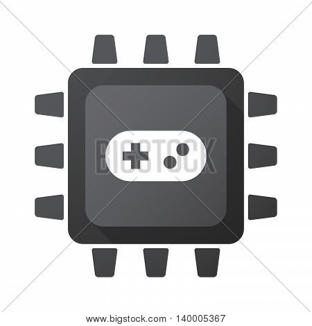 Isolated Cpu Chip Icon With A Game Pad