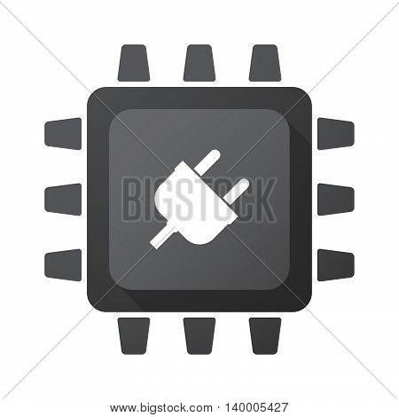 Isolated Cpu Chip Icon With A Plug