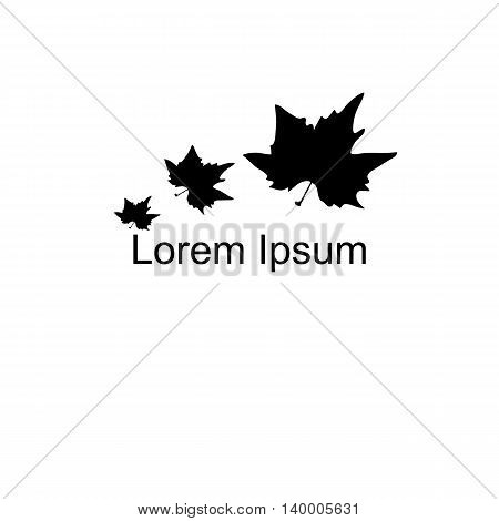 Autumn Leaf, Black Silhouette. Logo. The Time Of Year, . For Your Design