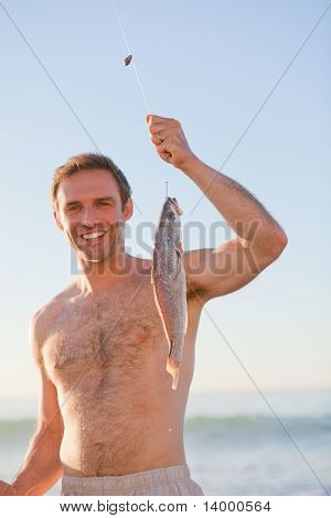 Active Man Fishing