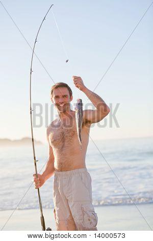 Active Man Fishing