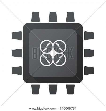 Isolated Cpu Chip Icon With A Drone