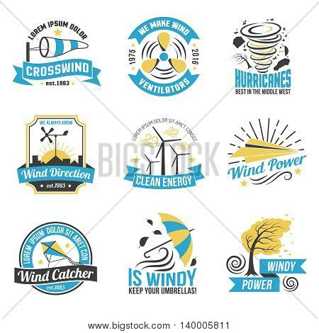 Wind energy production emblems set with windmills and natural sources of green power abstract isolated vector illustration