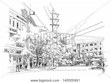 sketch drawing of city street, Illustration, hand drawn