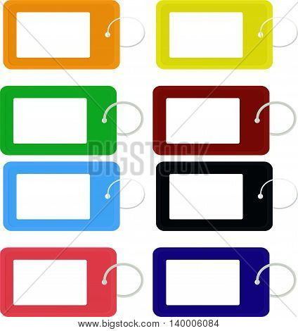 Vector illustration set different color blank key tag isolated on white. Key tag icon