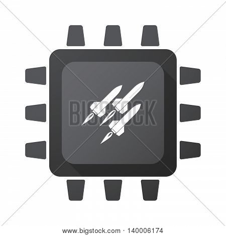 Isolated Cpu Chip Icon With Missiles