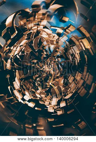 abstract background with gold metal modern spiral