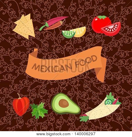 Mexican style. Mexico food Concept. Menu layout template. Chili pepper. Restaurant flye. Doodle ethnical ornament background. Vector Illustration