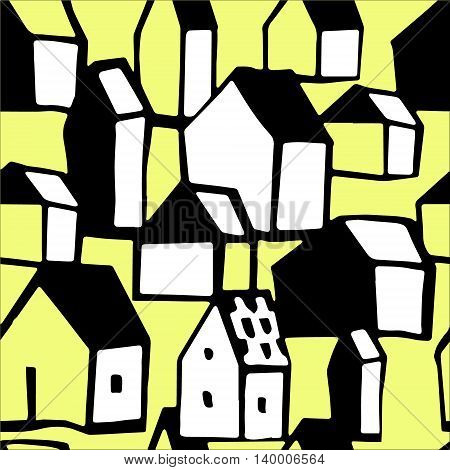 Original seamless background with houses. Perfect for wallpaper