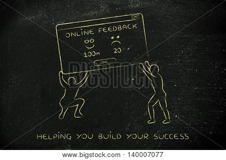 Men Lifting Pop-up With Feedback, Improving Reputation Concept