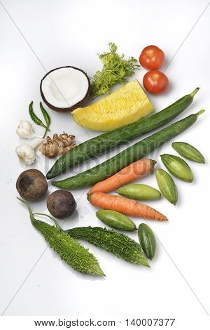 Vegetables,Fruits and Spices on White Background shot in Studio