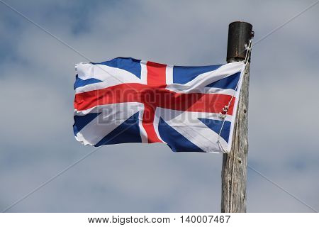 Union Jack Flag blowing in the wind.