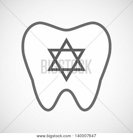 Isolated Line Art Tooth Icon With A David Star