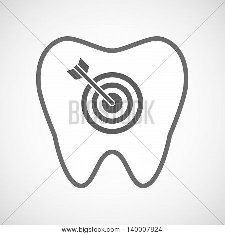 Isolated Line Art Tooth Icon With A Dart Board