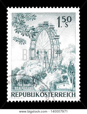 AUSTRIA - CIRCA 1966 : Cancelled postage stamp printed by Austria, that shows Bi wheel in Vienna.