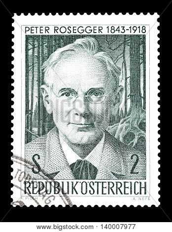 AUSTRIA - CIRCA 1968 : Cancelled postage stamp printed by Austria, that shows Peter Rosegger.