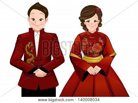 Chinese marriage wedding cartoon in modern dress ceremony. bride and groom stand beside each other with smiling in isolated version.