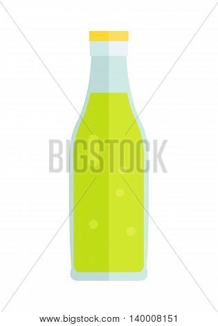 Glass or plastic bottle with beverage. Vector in flat style design. Sweet summer drinks concept. Illustration for icons, labels, prints, logo, menu design, infographics. Isolated on white background.