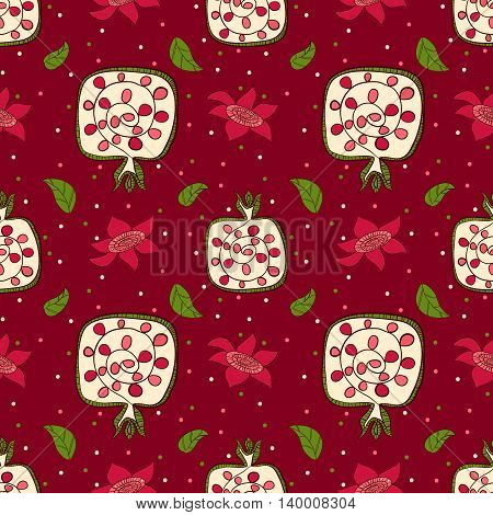 Pomegranate with leaves. Seamless vector pattern pomegranate, leaves, flowers, seeds. Colorful blossom floral backdrop.