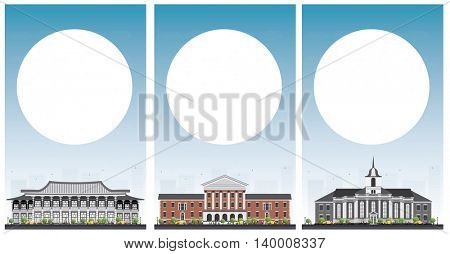 Set of university study banners with copy space. Vector illustration. Students go to the gray building. University with blue sky. Banner with copy space.