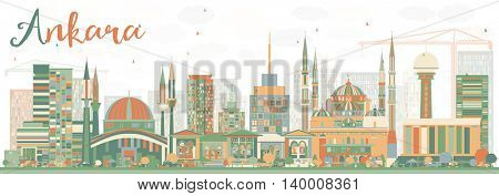 Abstract Ankara Skyline with Color Buildings. Vector Illustration. Business Travel and Tourism Concept with Historic Buildings. Image for Presentation Banner Placard and Web Site.