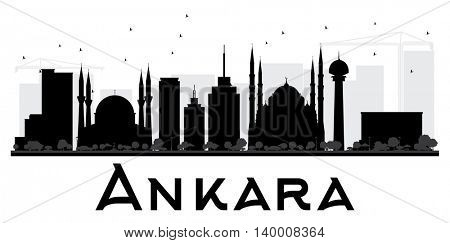 Ankara City skyline black and white silhouette. Vector illustration. Simple flat concept for tourism presentation, banner, placard or web site. Business travel concept. Cityscape with landmarks