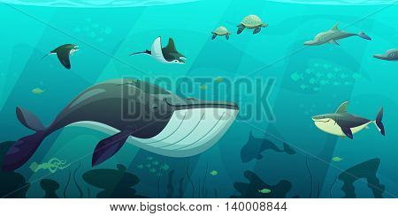 Underwater ocean live aquamarine flat abstract banner with shark squid fish turtles and seaweeds flat vector illustration