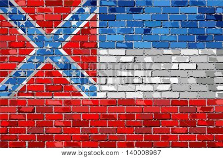 Flag of Mississippi on a brick wall - Illustration,  The flag of the state of Mississippi on brick textured background,  Mississippi flag in brick style