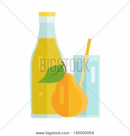 Bottle and glass with pear beverage. Vector in flat design. Sweet summer drink, fresh juice concept. Illustration for icons, labels, prints, logo, menu design, infographics. Isolated on white.