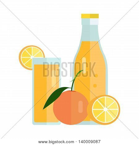 Bottle and glass with orange beverage. Vector in flat design. Sweet summer drink, fresh juice concept. Illustration for icons, labels, prints, logo, menu design, infographics. Isolated on white.