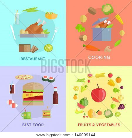 Set of food vector concept in flat style. Collection of fast food, cooking, fruits vegetables, restaurant vector concepts. Illustrations for cafe, grocery, farm, food delivery services ad, menu.