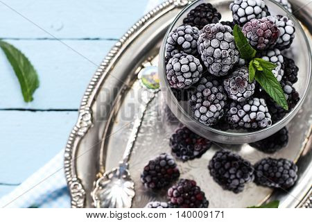 Ripe Blackberries In A Ceramic Bowl On Burlap Cloth Over Wooden Background Close Up. Rustic Style, S